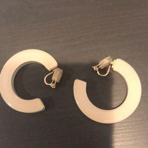 Lucite cream hoop clip on earrings from Tokyo